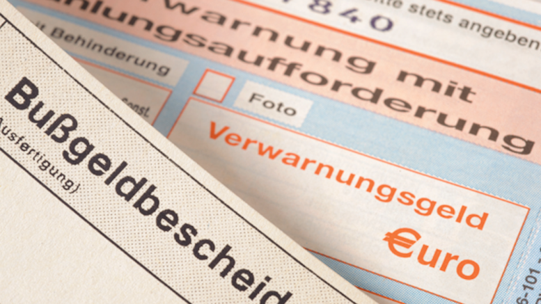Bußgeldbescheid (Symbolfoto: RuhrkanalNEWS)