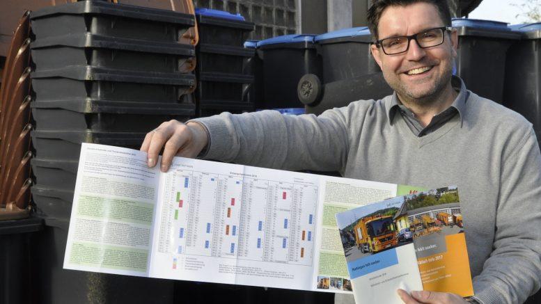 Abfallberater Gerald Tarrach zeigt den neuen Abfallkalender, der ab sofort verteilt wird. Den Kalender von 2017 sollte man dennoch behalten.   (Foto: Stadt Hattingen)