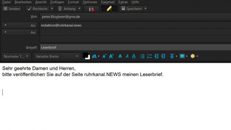 RuhrkanalNEWS freut sich über jeden Leserbrief und jeden Kommentar unter den Beiträgen