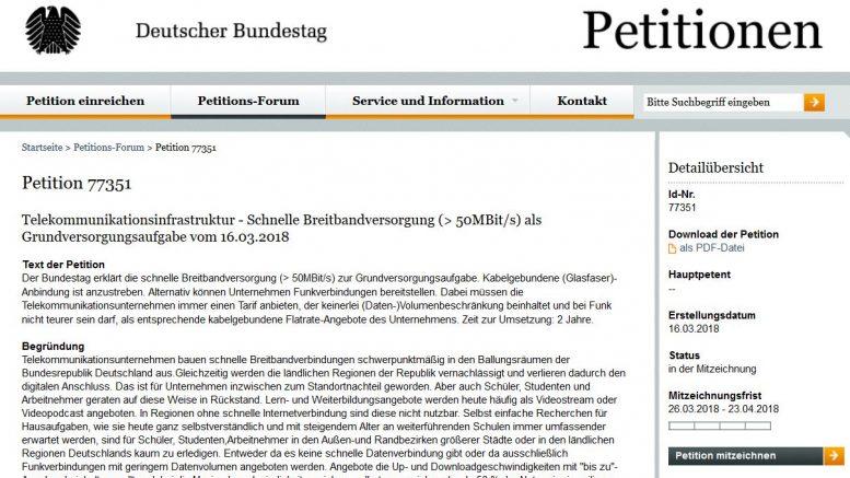 Die Petition kann 28 Tage lang mitgezeichnet werden (Screenshot: RuhrkanalNEWS)